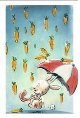 conejo con paraguas