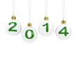 Christmas tree decoration and 2014 text