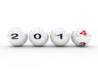 new year 2014 sphere on white background