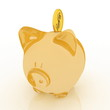 Glass piggy bank on white background