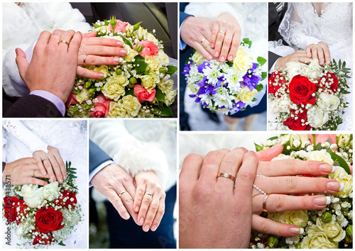 collage couple's hands and wedding bouquets