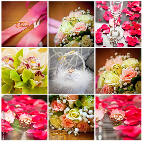 collage of wedding rings and bouquets
