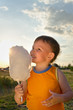 Young boy eating a stick of cotton candy