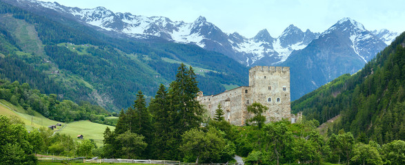 Alps mountain summer view and castle