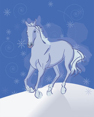 running horse winter background