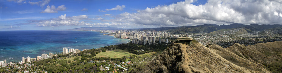 waikiki and honolulu skyline wide panorama