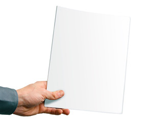 blank magazine cover in the hand isolated on white