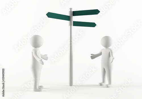 3D people next to a directional sign post