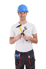 builder in a helmet over white background