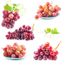 Collections of Red grape, closeup, isolated on white
