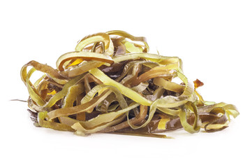 Salad of kelp isolated on white background