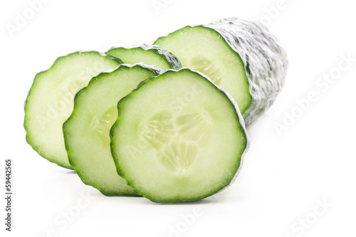 Cucumber slices isolated on white background