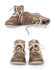 Isolated vintage boy shoes