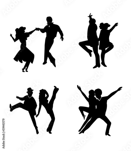 dancers in silhouette