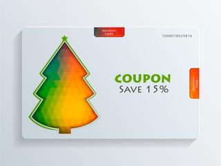 Coupon with colorful Christmas Tree