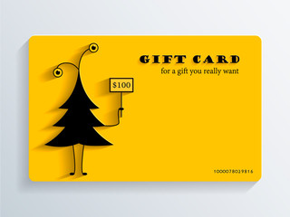 Gift Card with funny Christmas Tree
