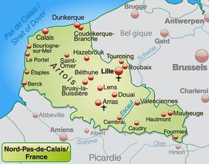 Umgebungskarte von Nord-Pas-de-Calais