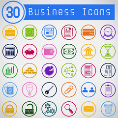Set of Simple Round Business Icons