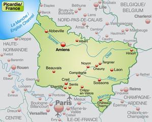 Picardie als Übersichtskarte in Pastelgrün
