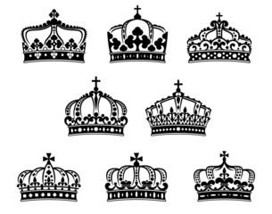 King and queen heraldic crowns set