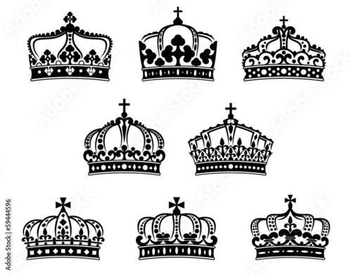 King and queen heraldic crowns set