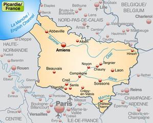 Picardie als Übersichtskarte in Pastelorange