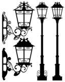 antique street light silhouettes and detailed vector outlines