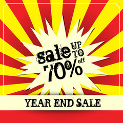 Year end sale poster, Vector illustration