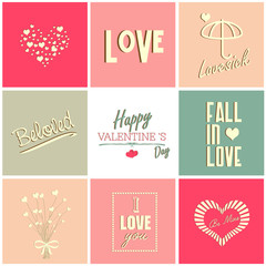 Valentines day card and typography elements