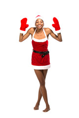 Christmas afro american woman wearing a santa hat smiling