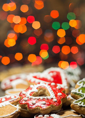 Gingerbread cookies with christmas light
