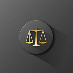 """SCALES OF JUSTICE"" button (rights legal advice law icon)"