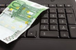 Internet banking - keyboard and Euro banknotes