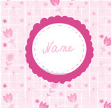 Baby girl cute annoncement card with frame name