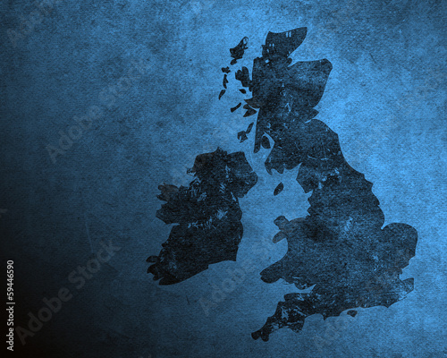 Blue grungy UK and Ireland map