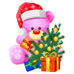 gift christmas pink teddy bear
