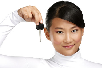 happy asian chinese woman giving key car