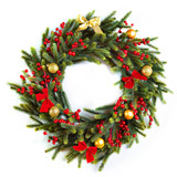 Beautiful vintage Christmas wreath decorated with red ribbons an