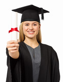 Confident Student In Graduation Gown Showing Certificate