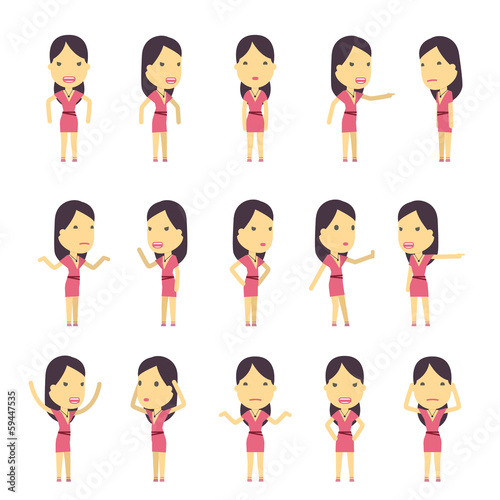 urban character set in different poses. simple flat design. - 59447535