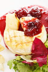 Camembert with cherry sauce