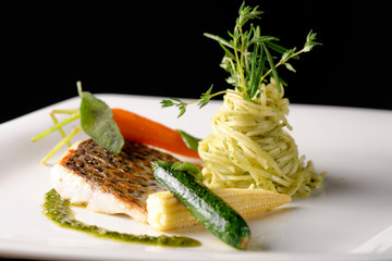 Fine dining, Trout fish fillet  with basil pasta