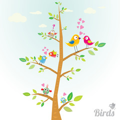 Vector lovely Birds on branch