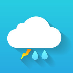Day cloud, lightning and double rain drops isolated on blue