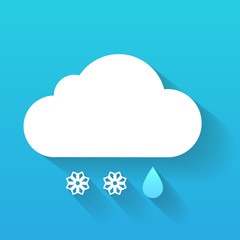 Day cloud, snow flakes and rain drop isolated on blue