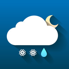 Night cloud, snow flakes and rain drop isolated on dark