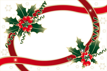 Holly decoration isolated on white