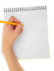 Left hander drawing gesture with pencil and pad isolated