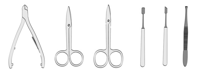 cartoon image of manicure tools