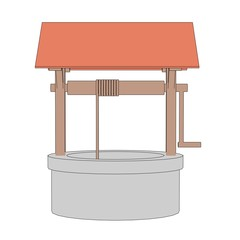 cartoon image of medieval well